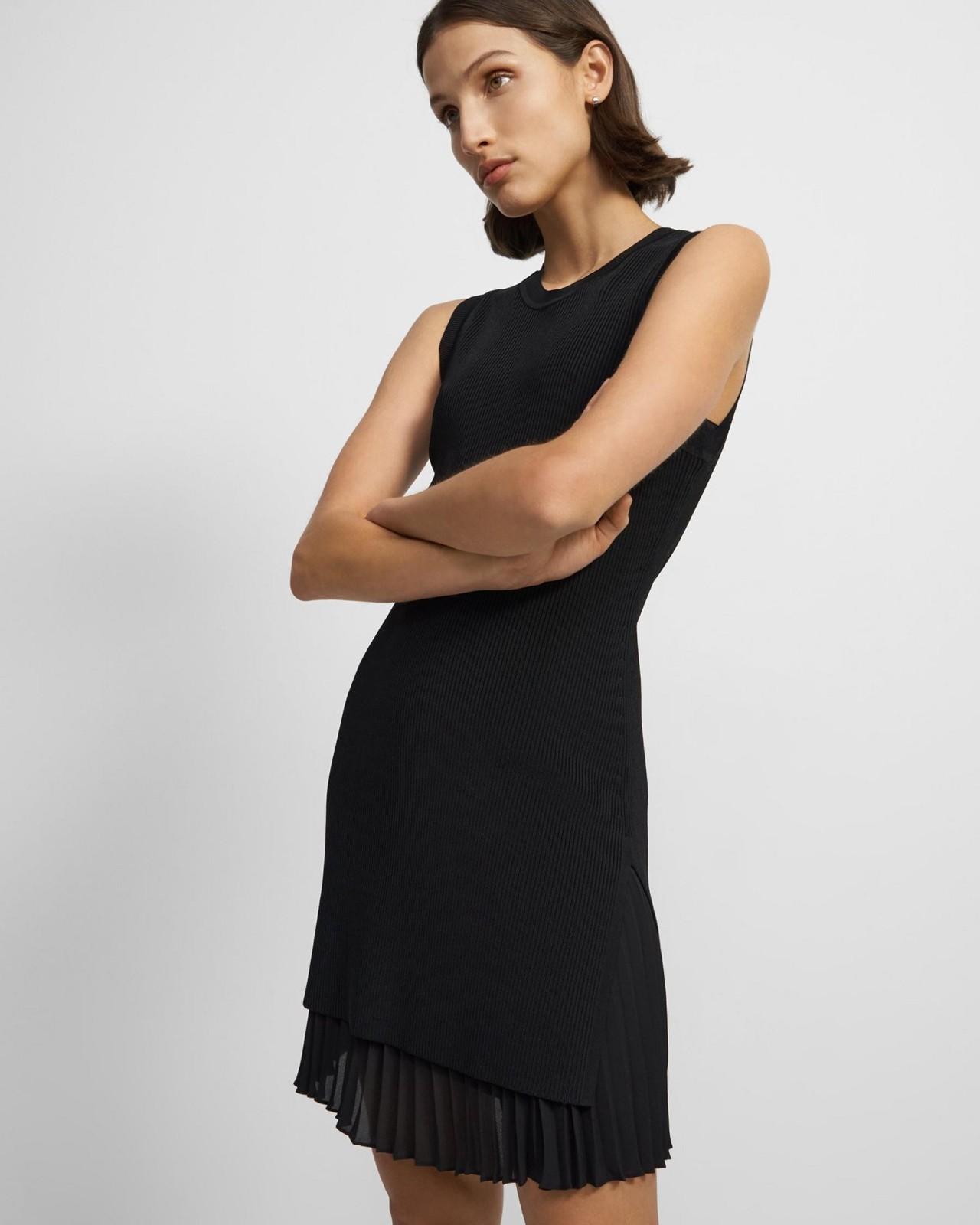 罗纹针织褶皱无袖连体裙