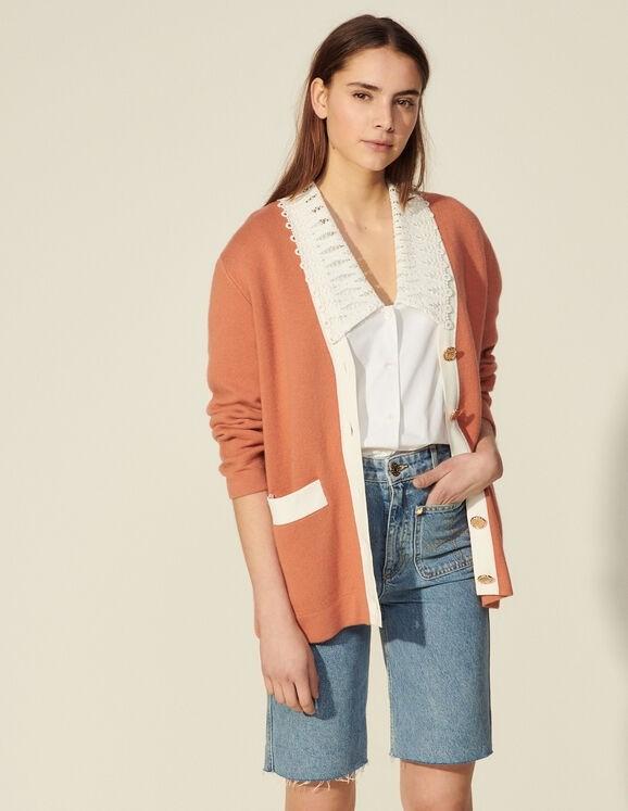 活力橙针织开衫
