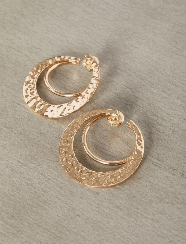 锤金双环耳环