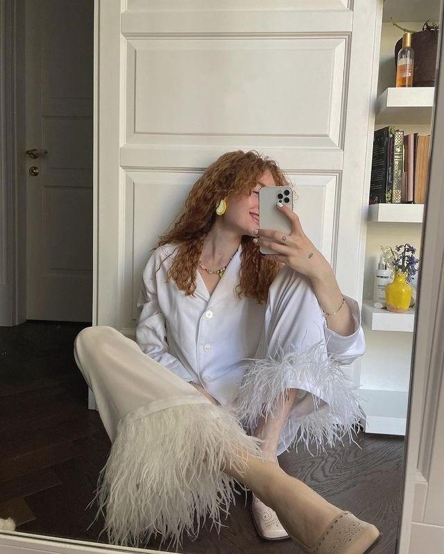 鸵鸟羽毛睡衣套装