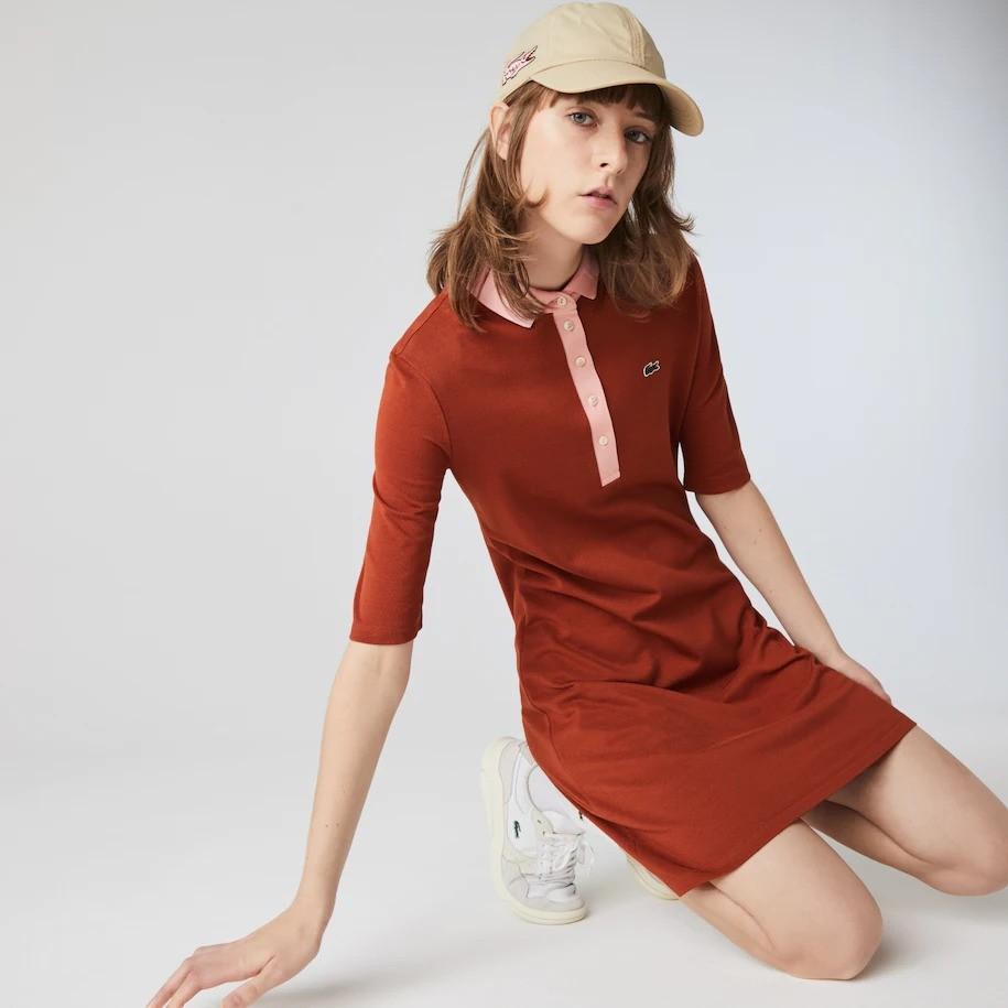 拼色polo裙