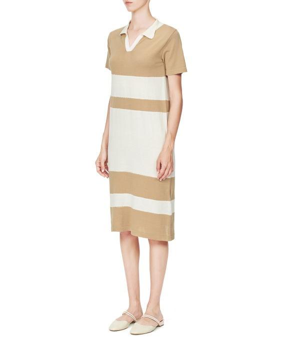 条纹拼色连衣裙