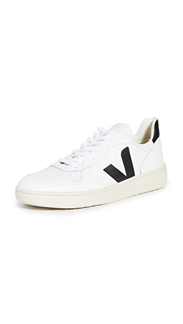 V-10 黑白 皮革运动鞋