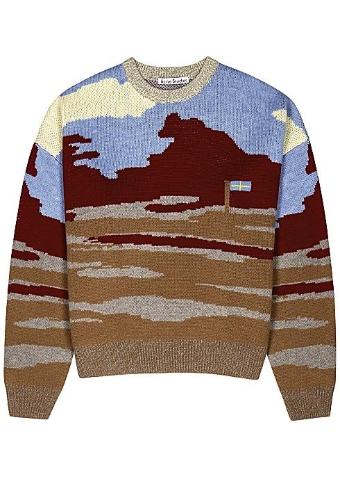 撞色羊毛毛衣