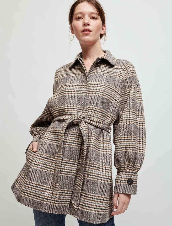 格纹羊毛外套