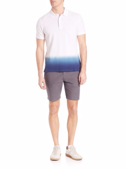 亏转Burberry/博柏利新款高端时尚白色到蓝色渐变POLO衫