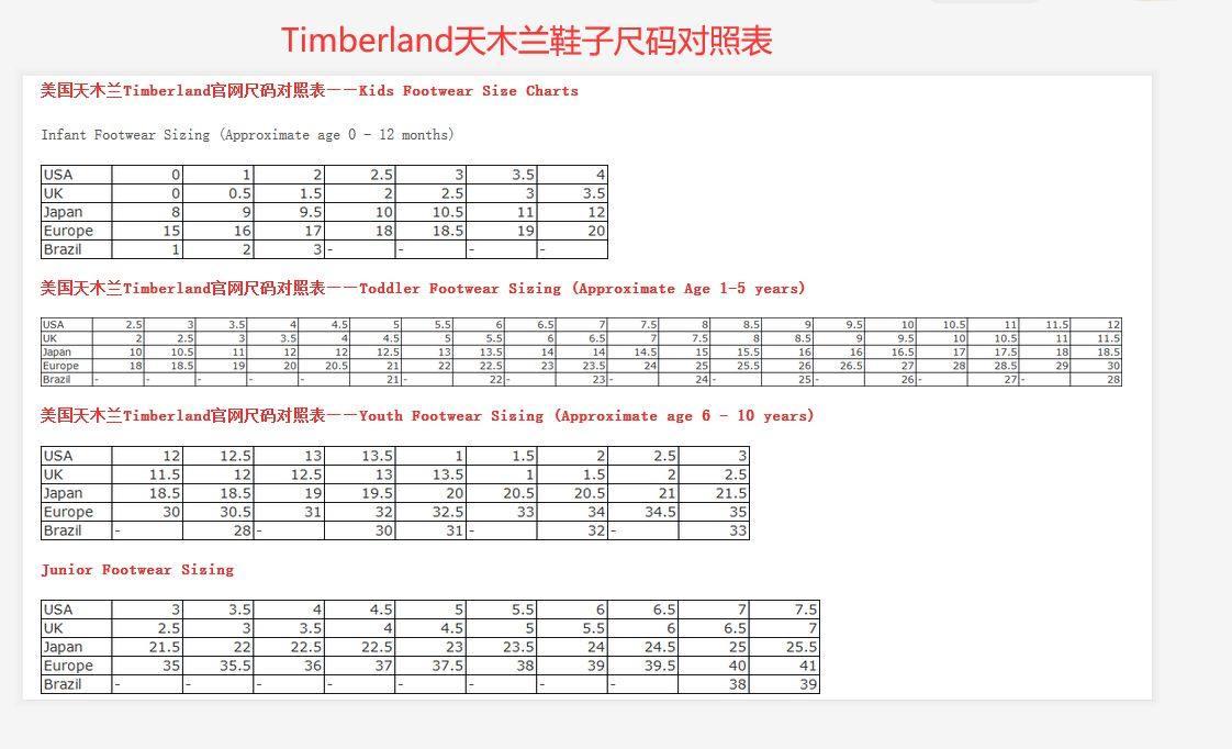 timberland尺码怎么看呢?Timberland天木兰