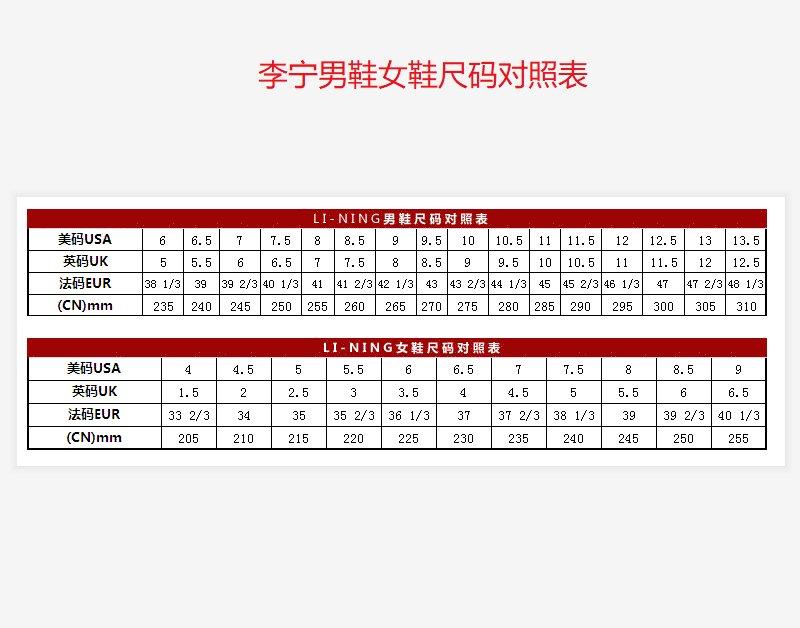 李宁男鞋女鞋尺码对照表,李宁和阿迪达斯的运动鞋尺码一样吗?