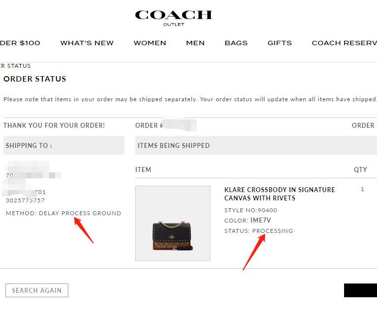 coach奥莱付款后找不到订单,是被砍单了吗?可以查!  其