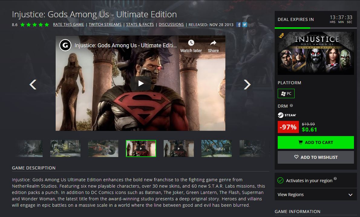 VIP Members: Injustice: Gods Among Us Ultimate Edition (PC Digital)