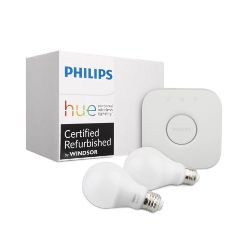 Philips Hue White 2-Bulb A19 Starter Kit (Gen 2, Refurbished)