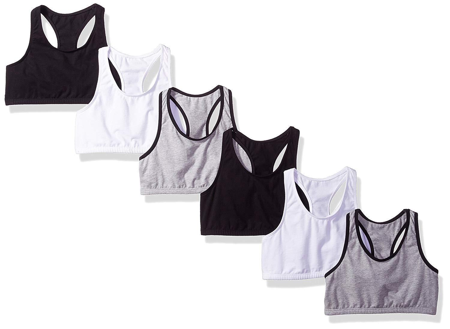 6-Pack Big Girls' Fruit of the Loom Cotton Built-Up Sports Bra