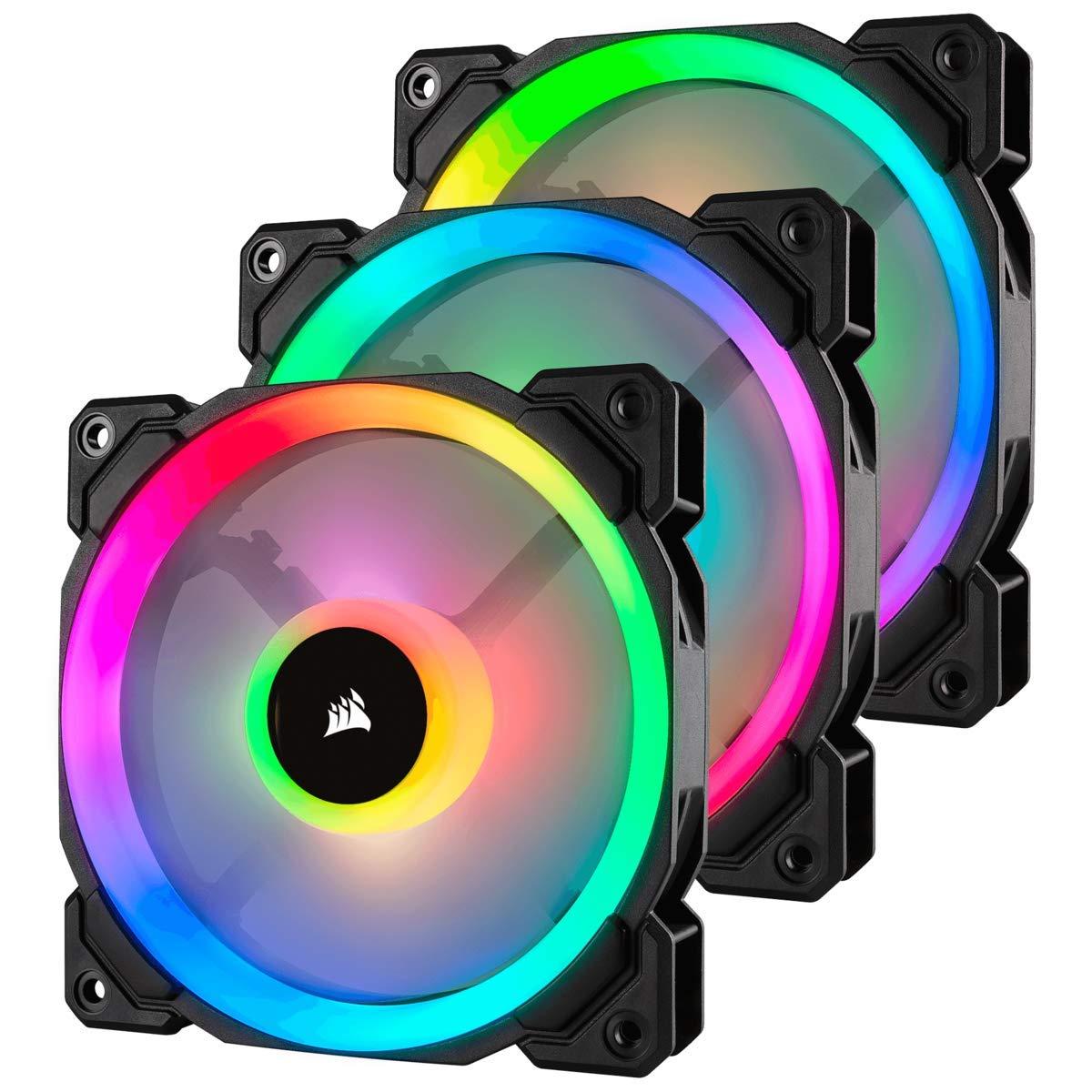 3-Pk Corsair LL120 120mm RGB PWM Fan w/ Dual Light Loop & Lighting Node Pro