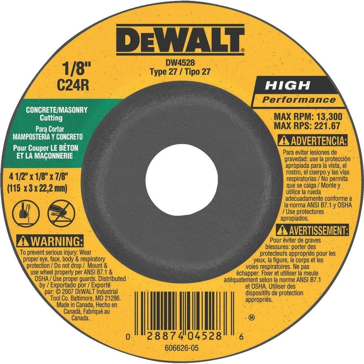 """DeWalt DW4528 4-1/2"""" x 1/8"""" x 7/8"""" Concrete/Masonry Cutting Wheel"""