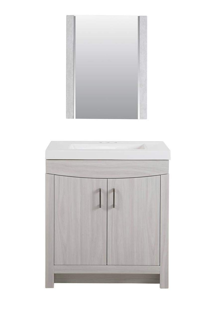 """Glacier Bay Cordana Bath Vanity w/ White Sink/Mirror (Elm Sky; 30.5"""")"""