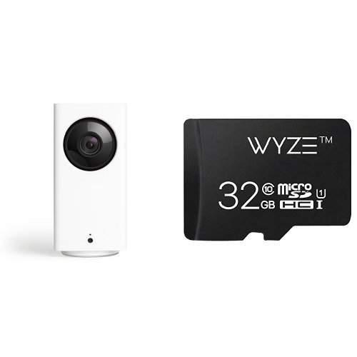 Wyze Cam Pan 1080p Pan/Tilt/Zoom Indoor Smart Home Camera w/ 32GB MicroSD Card