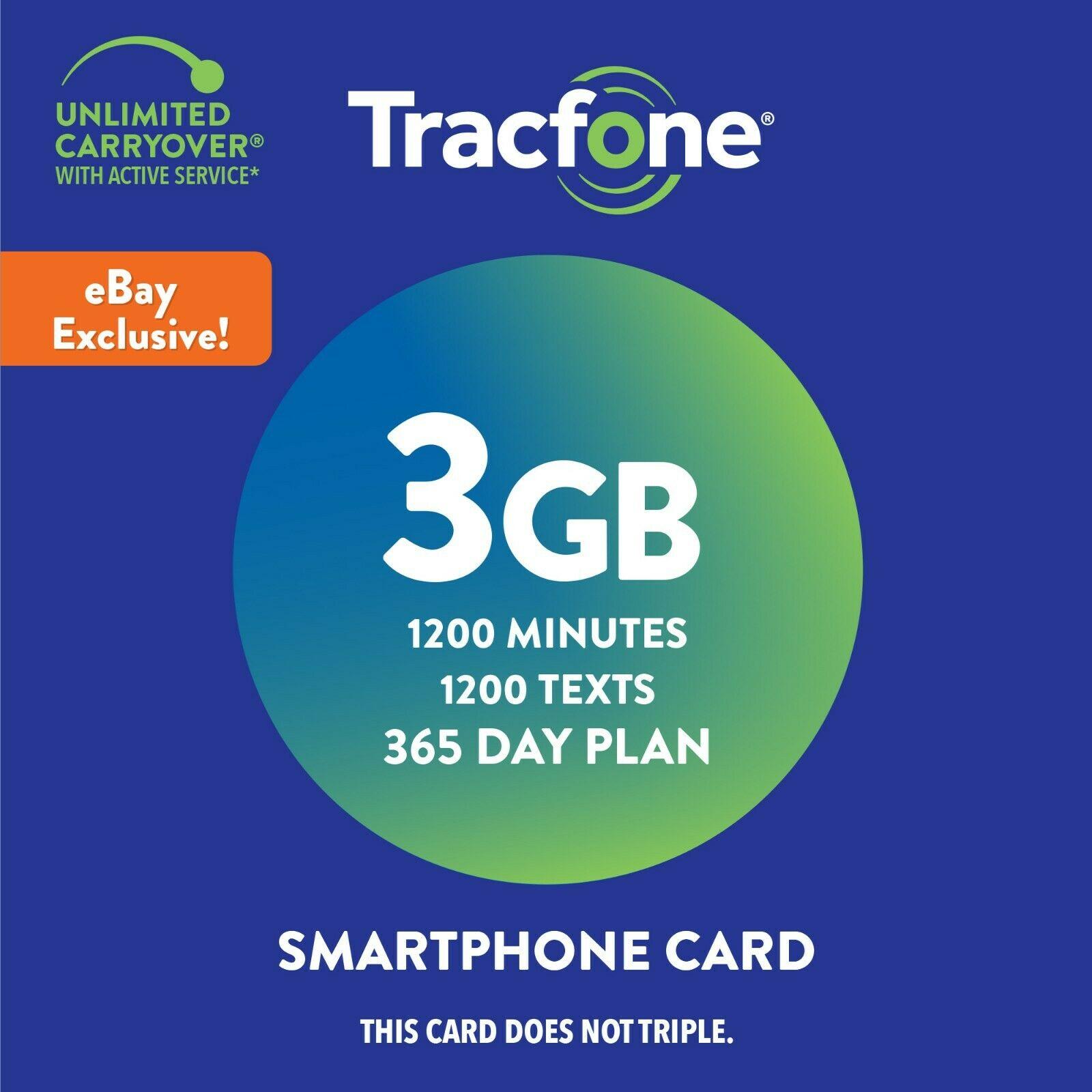 Tracfone Prepaid Smartphone Plan w/ 1200 Min, 1200 Txt & 3GB Data (AT&T or T-Mo)