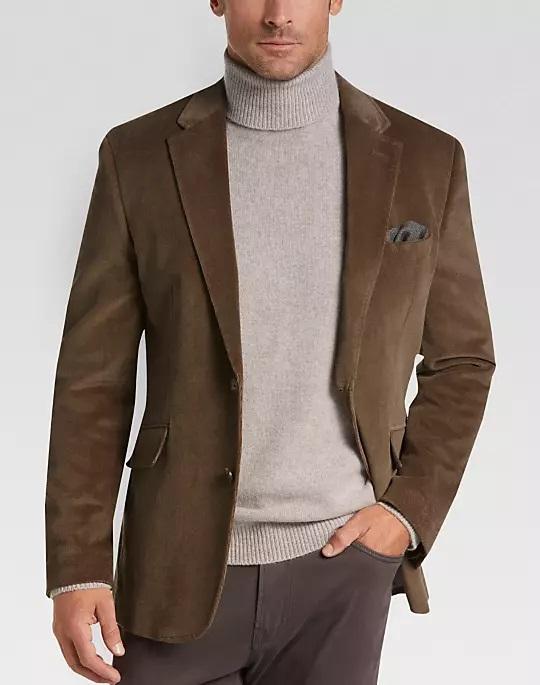 Joseph Abboud Men's Velour Casual Sport Coat (Tan Herringbone)