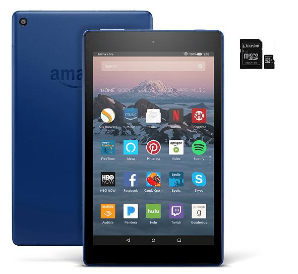 "New QVC Customers: Amazon Fire 8"" HD Wi-Fi Tablet w/ 32GB SD Card & App Pack"