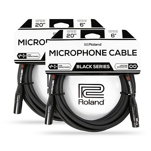 2-Pack 20 ft.Roland Black Series XLR Microphone Cables + 1' Mic Cable