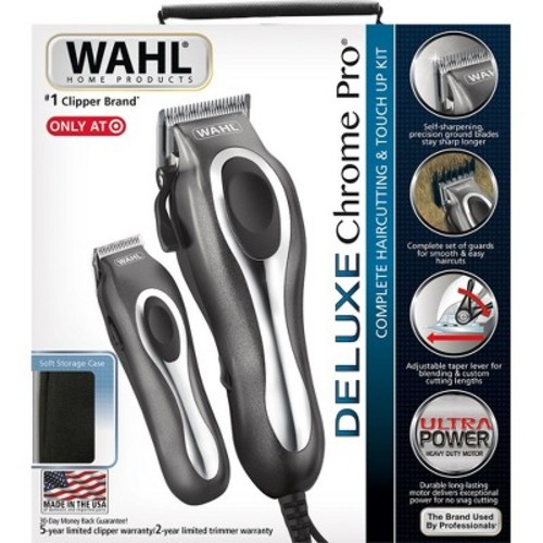 Wahl Deluxe Chrome Pro Complete Men's 25pc Haircut Kit With Finishing Trimmer & Soft Storage Case - 79650-1301 - $24.49
