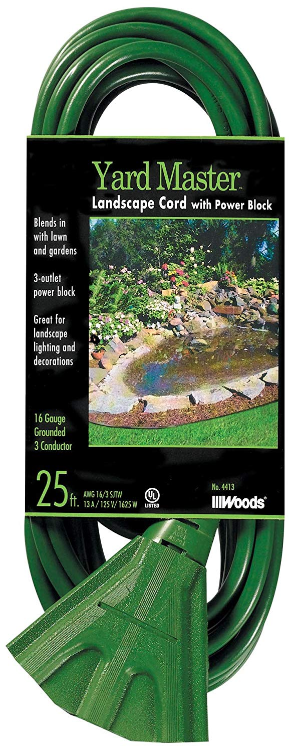 25' Woods 16/3 Outdoor Extension Cord w/ 3-Outlet Power Block