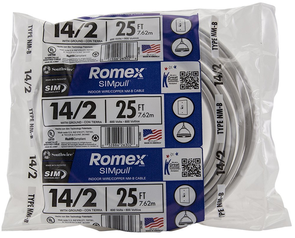 25' Southwire Romex SIMpull 14/2 NM-B Electrical Wire w/ Ground