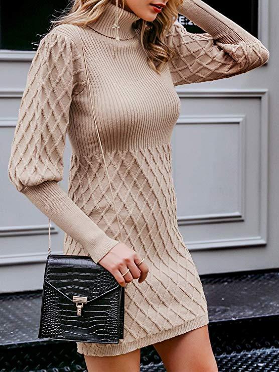 高领针织连衣裙,立体修身,尽显动人曲线