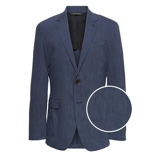 Men's Blazers: Slim Chambray Blazer $50.25, Slim Stripe Blazer