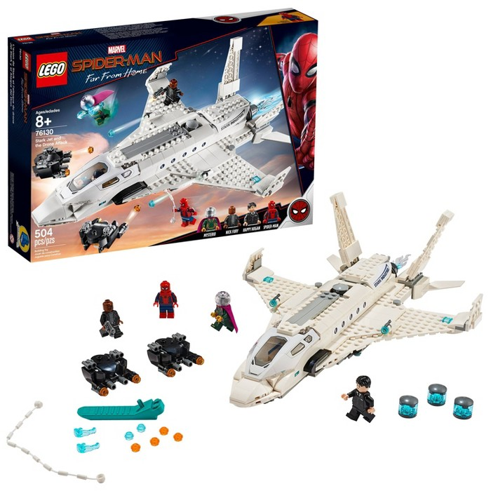 $35 in cart, LEGO Super Heroes Marvel Spider-Man Stark Jet and the Drone Attack 76130