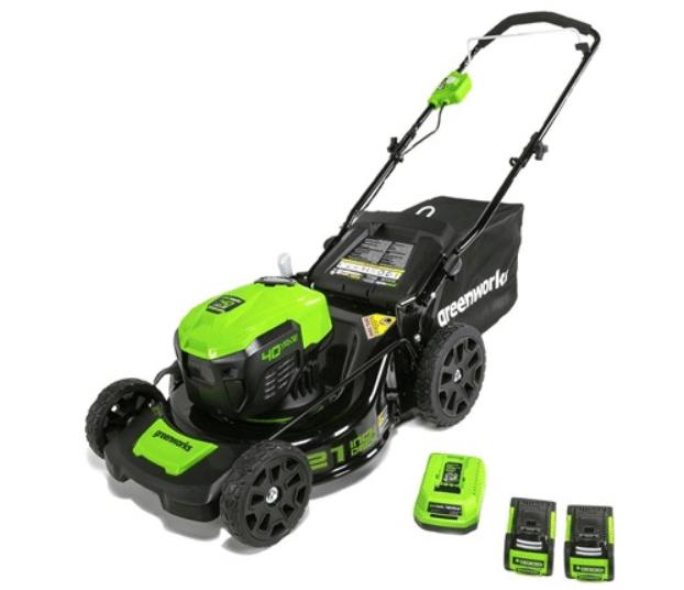"Greenworks 21"" 40V Brushless Cordless Mower w/ Charger + 2x Batteries"