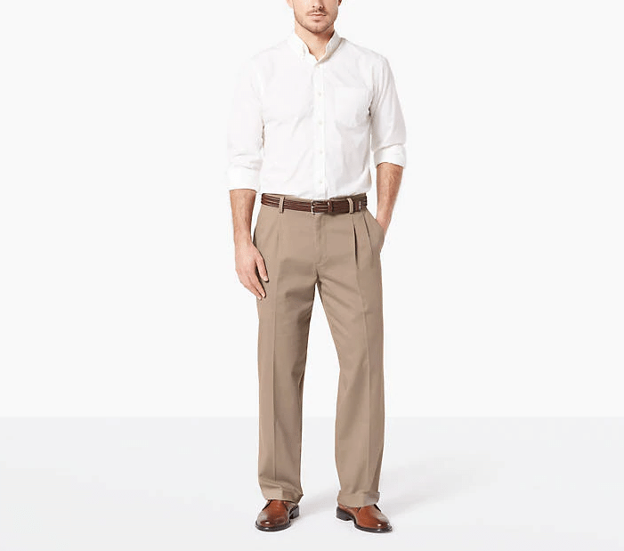 Dockers Men's Easy Stretch Relaxed Fit Khaki Pleated Pants (Tan)