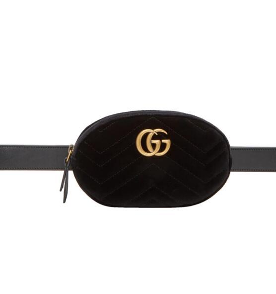 Gucci黑色丝绒腰包