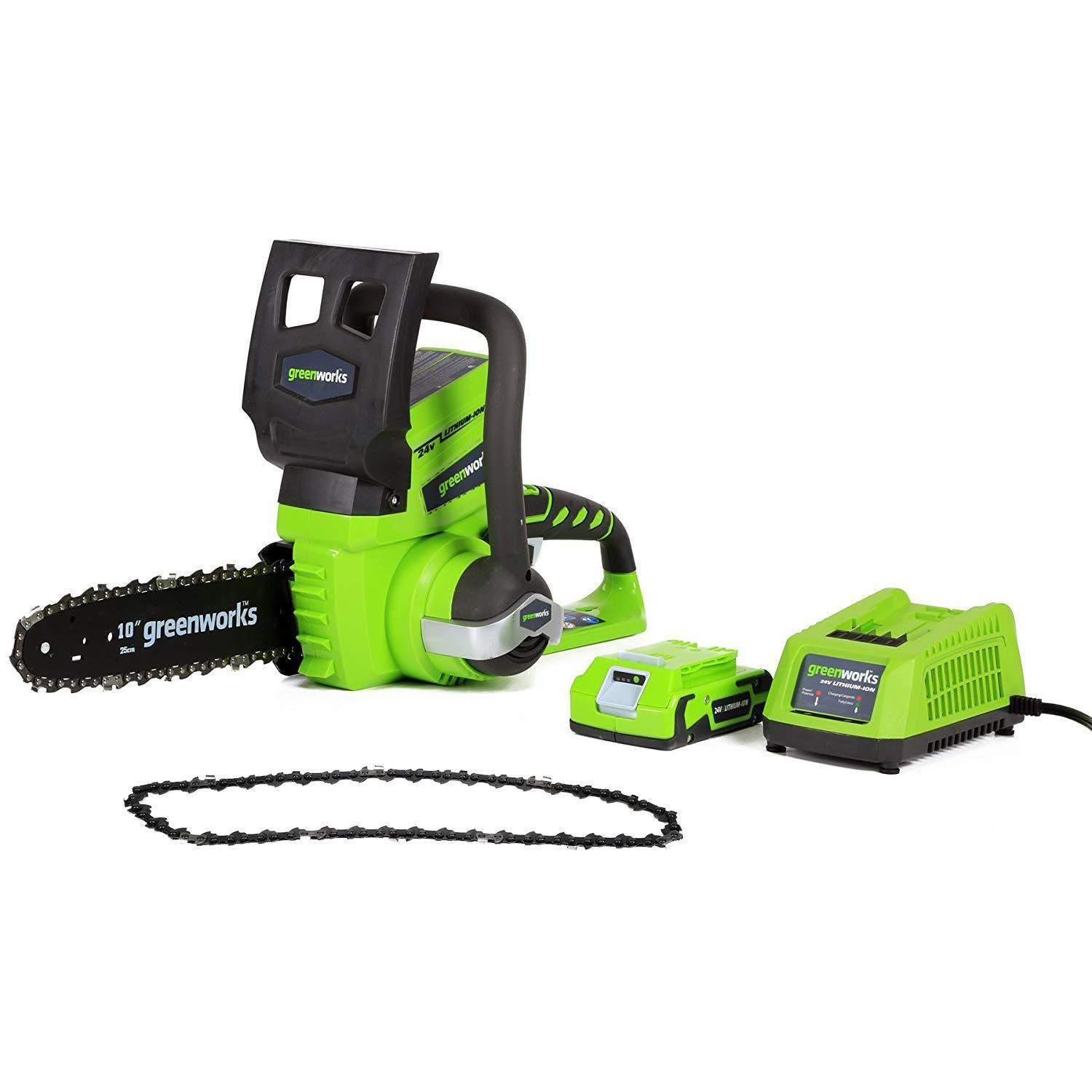 """Greenworks 10"""" 24V Cordless Chainsaw w/ Extra Chain, 2Ah Battery & Charger"""