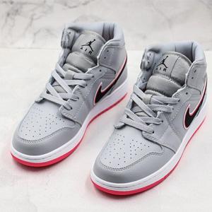 Jordan AJ 1 Mid大童灰粉运动鞋
