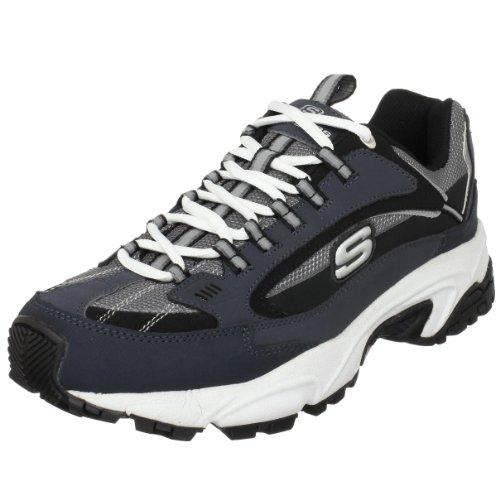 Skechers 斯凯奇Sport 男款跑鞋,真皮拼接网面鞋身