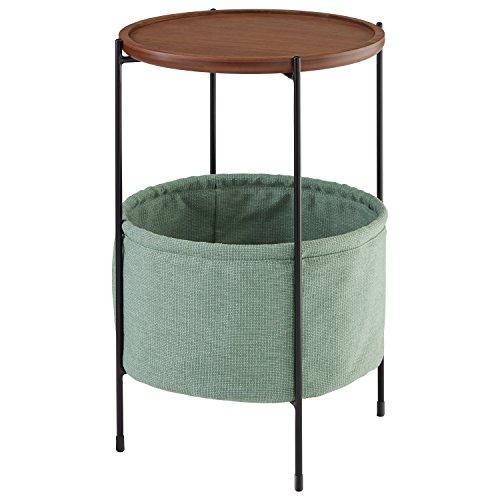 简洁现代设计感的圆形储物边桌,多功能超实用