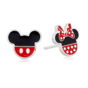 Disney 纯银米奇和米妮老鼠珐琅耳钉