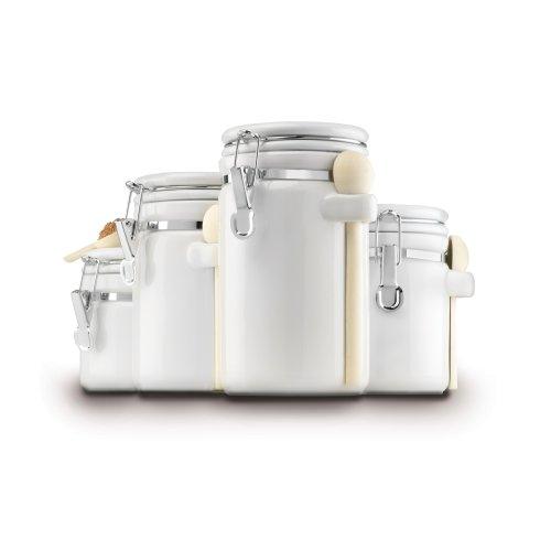 Anchor 白色陶瓷密封存储罐 4个,带勺子