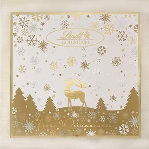 送礼佳品!Lindt瑞士莲 巧克力金色圣诞日历 156g