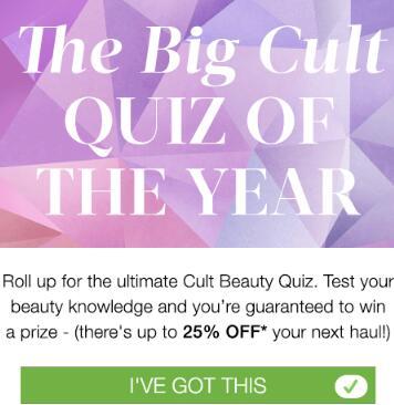 复活!Cult Beauty现有回答问题最高赢75折优惠活动