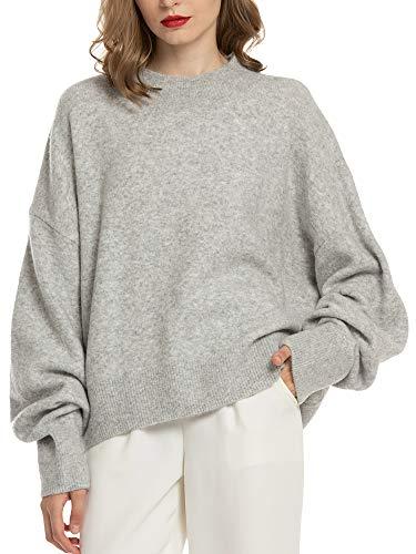 温暖厚实的宽松羊毛针织衫,搭配裤子或裙装都好看