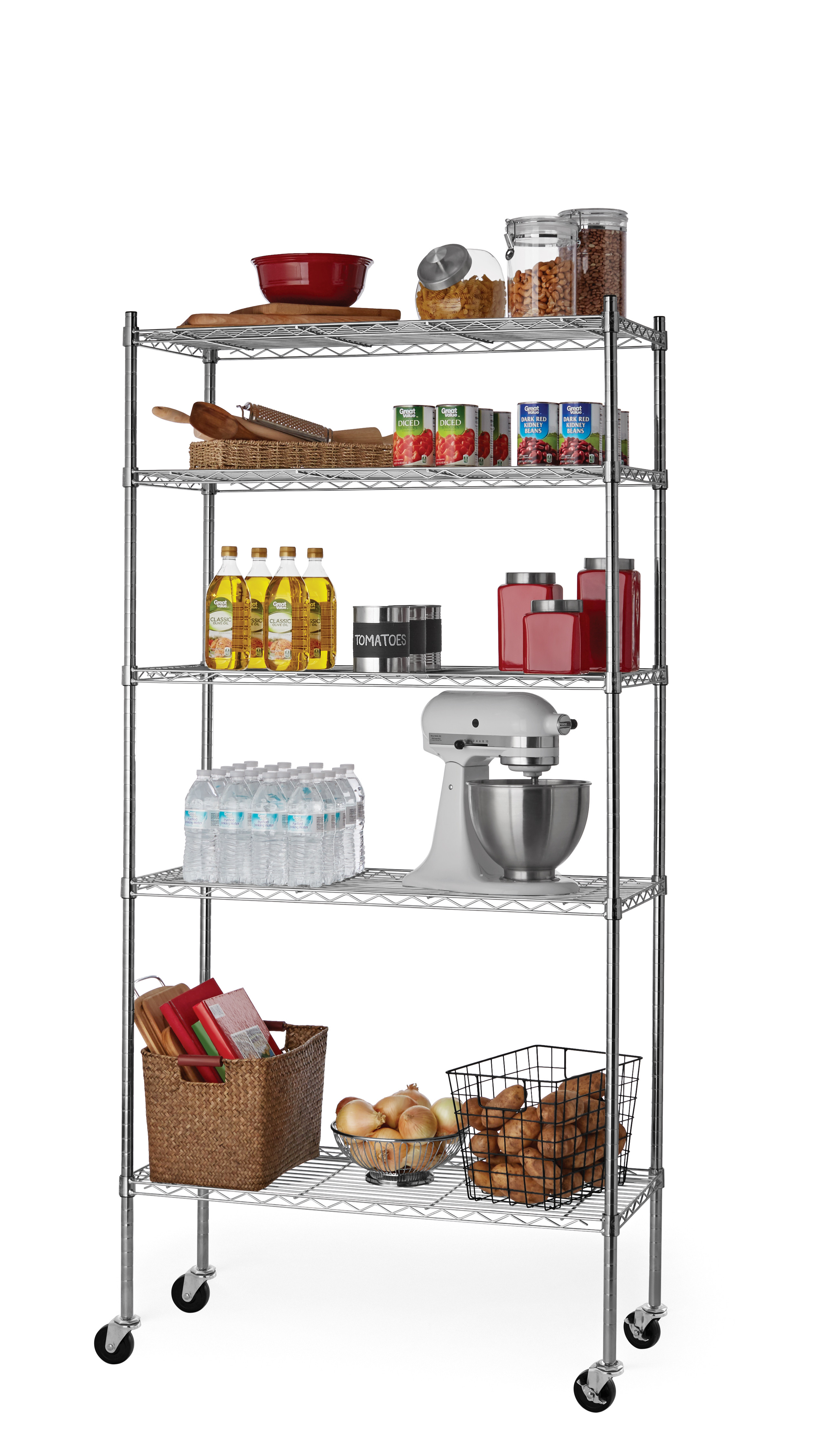 """Hyper Tough 16""""Dx36""""Wx74.6""""H 5 Tier Wire Shelving Rack with Casters $38"""