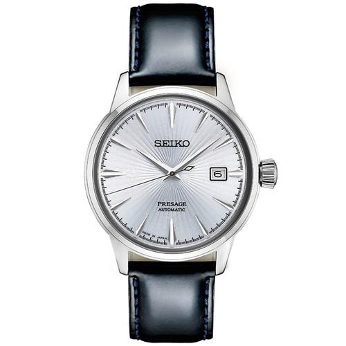 Seiko Men's Automatic Presage 40.5mm Watch w/ Black Leather Strap