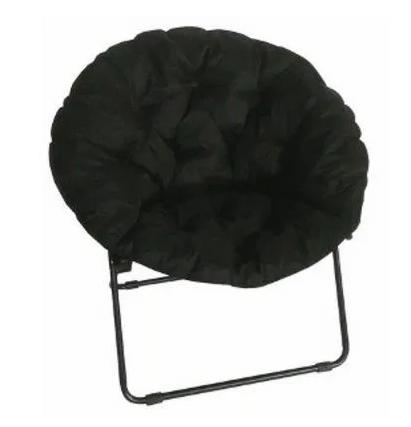Round Padded Microfiber Dish Chair (Black)
