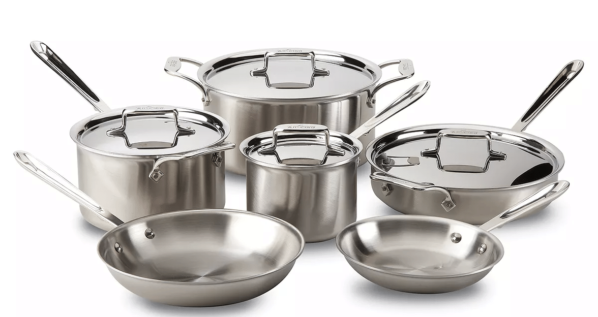 10-Pc All-Clad D5 Brushed Stainless Steel Cookware + Petite Roaster with Rack