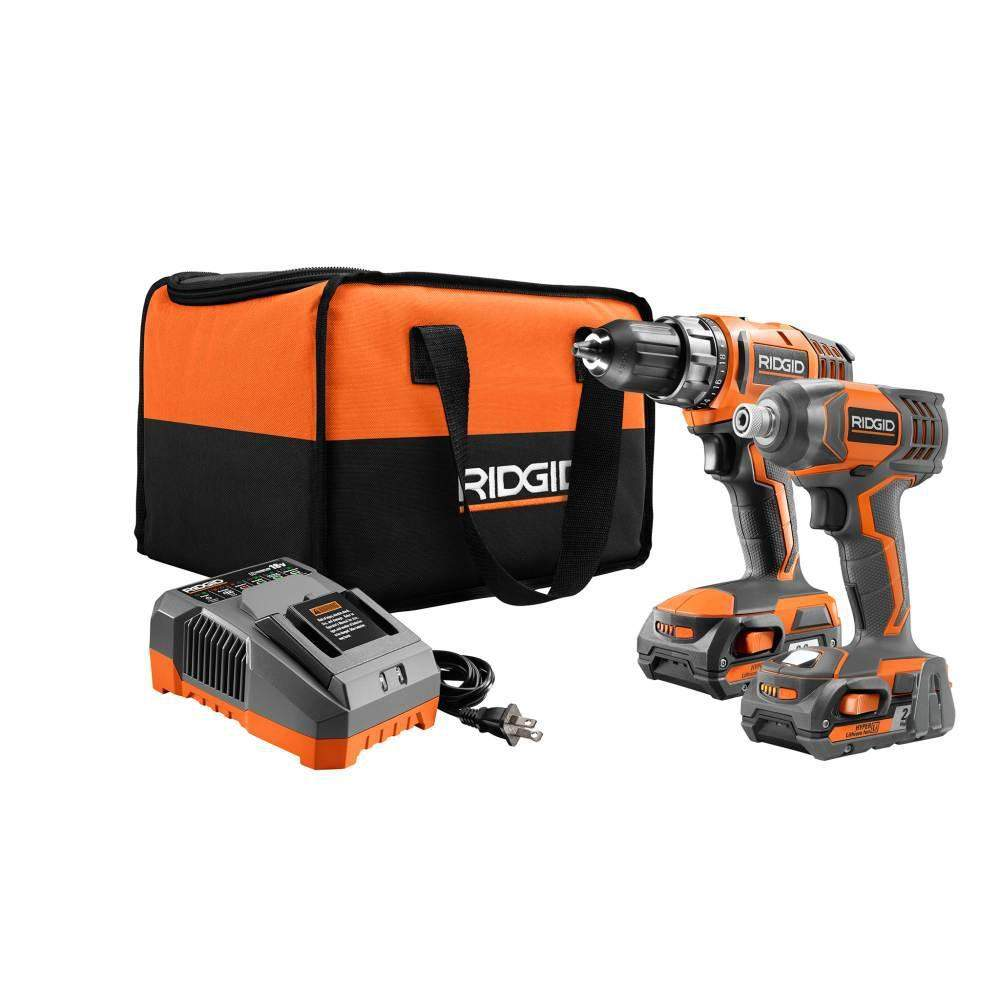 Ridgid 18V Cordless Drill/Driver & Impact Driver w/ 2 Batteries, Charger, & Bag