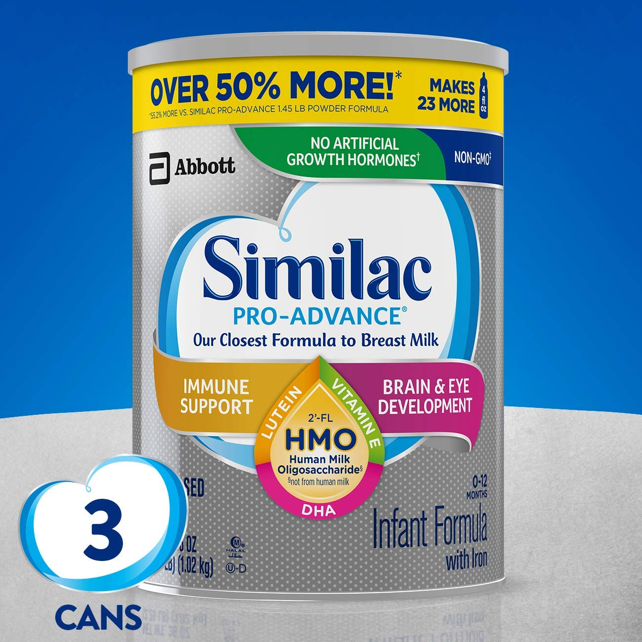 (35% Off) 3 Pack - Similac Pro-Advance Non-GMO Infant Formula with Iron, with 2'-FL HMO, for Immune Support, Baby Formula, Powder, 36 Oz, Pack of 3 (One-Month Supply) $77.76
