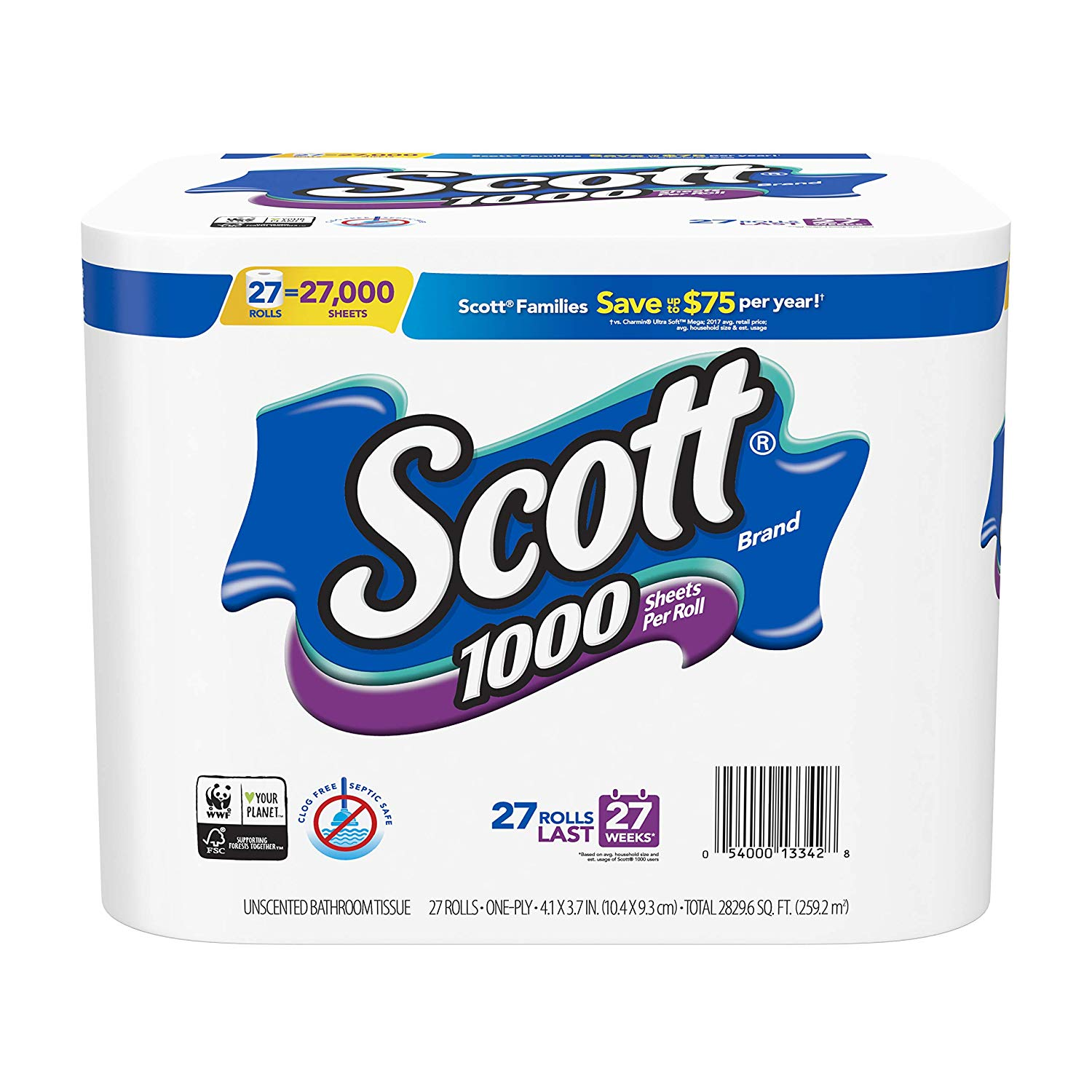 27-Count Scott 1000-Sheet One Ply Toilet Paper Rolls