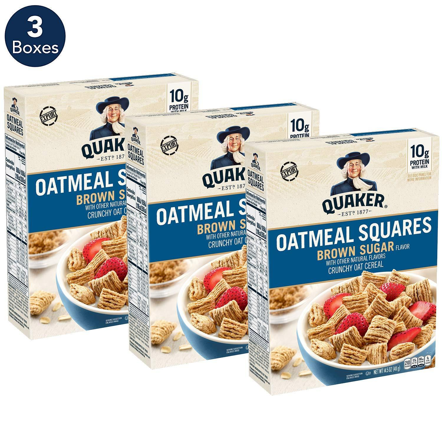 3-Count 14.5oz Quaker Oatmeal Squares Cereal (Brown Sugar)